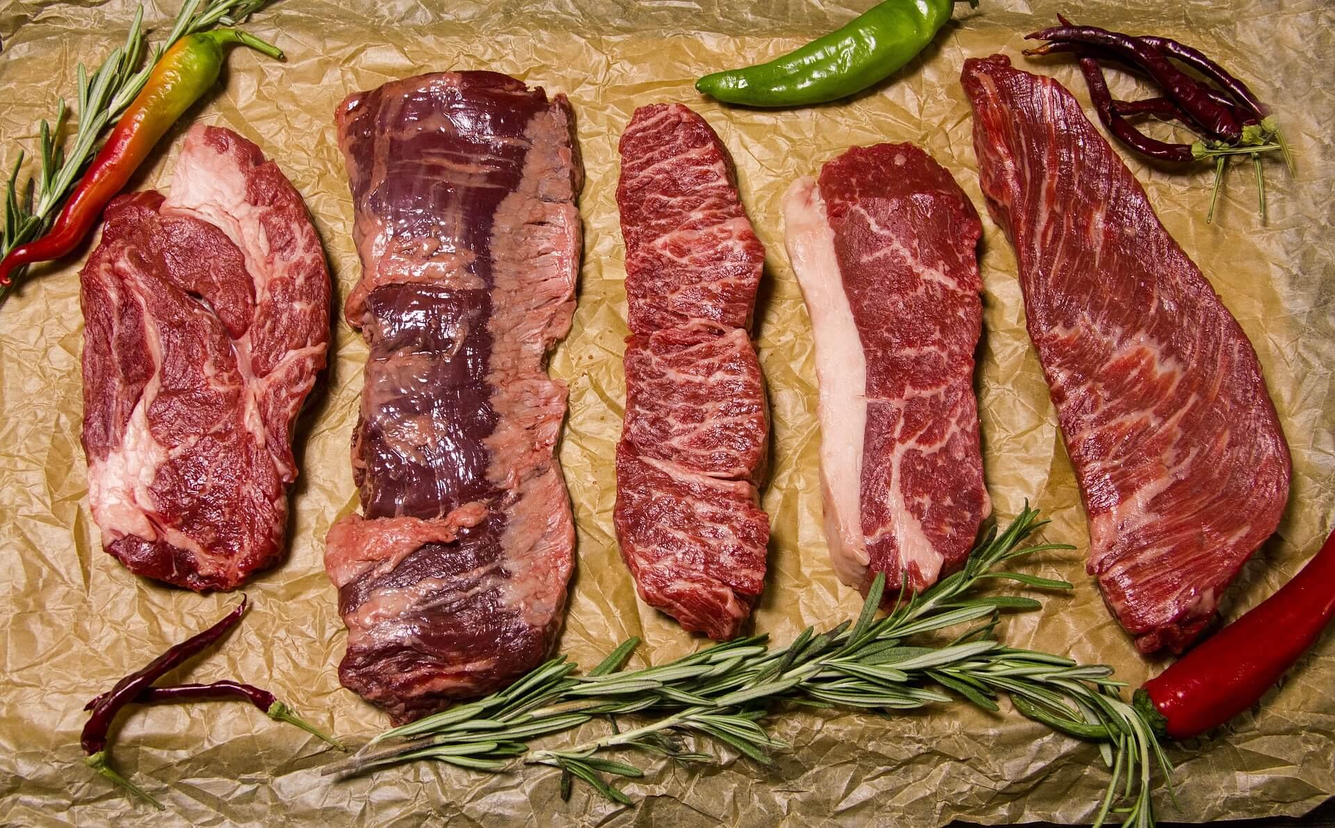 10 tipos de filetes de carne.